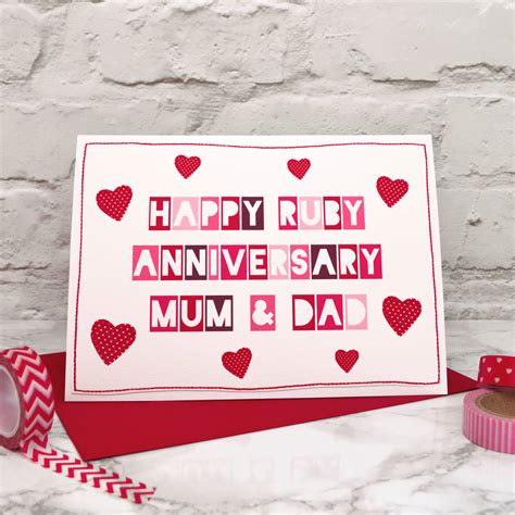 Ruby Wedding Anniversary Card For Parents by And 40th Ruby Anniversary Card By Arnott