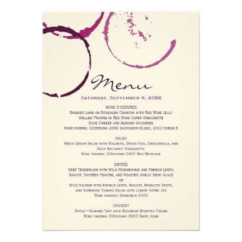 wine dinner menu template 17 best images about menus on receptions