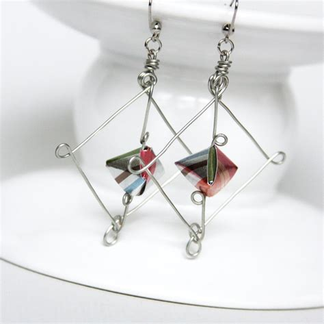 Wire Origami - origami paper earring wire jewelry frame suspended