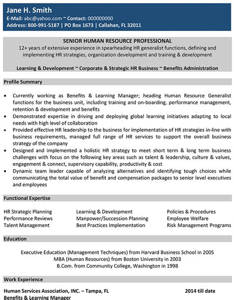 resume mail to hr format human resources cv format human resources resume sle and template