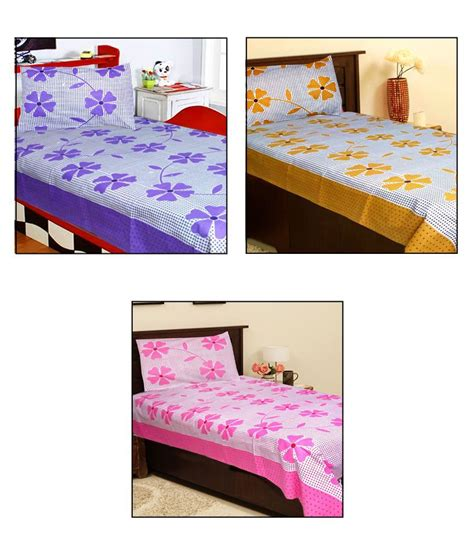 single bed sheets homefab india multi coloured 3 single bed sheets with 3