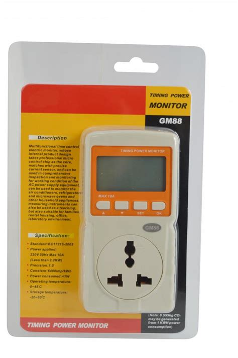 Monitor Lcd Power Max gm88 digital lcd display intelligent timing micro power monitor max 10a with buzzer alarm