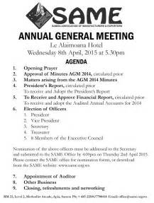 Annual General Meeting Minutes Template by Annual General Meeting Agenda Template 5 Best Templates 5