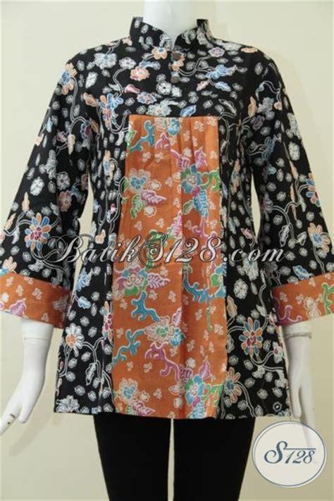 Blus Rok Batik Warna Kode Ba5281 baju batik modern kombinasi warna hitam dan orange blus