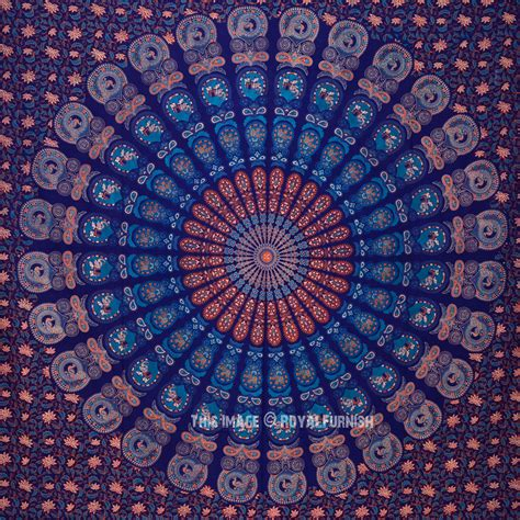 blue hippie floral mandala tapestry bedspread bed cover blue multi animal bohemian mandala wall tapestry bedding