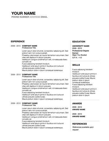 conservative professional resume design word template