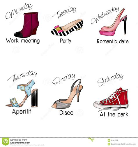 different days of week days of the week and different types of shoes stock