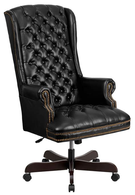 high back tufted office chair 360 high back tufted black leather executive office chair