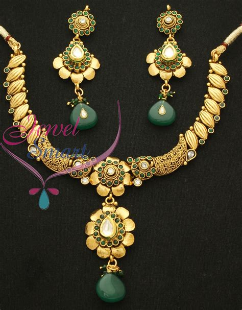 Light Necklace by Light Weight Antique Necklace Set Gold Plated With Ear