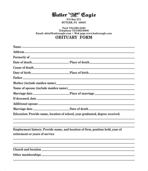 Free Printable Obituary Templates | free obituary templates 20 free word excel pdf format