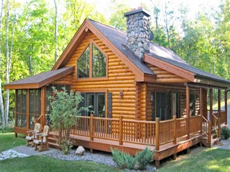 One Story Log Cabins by Log Cabin Home With Wrap Around Porch Big Log Cabin Homes