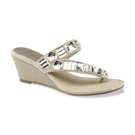 womens jeweled sandals smith s malone taupe jeweled wedge sandal