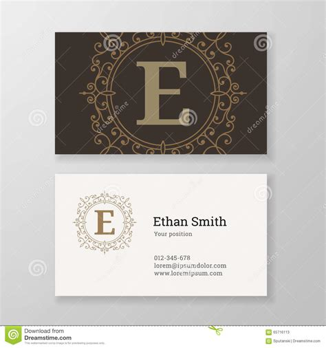 Free Business Card Templates Nature Monogram by Business Card Monogram Emblem Letter E Template Design