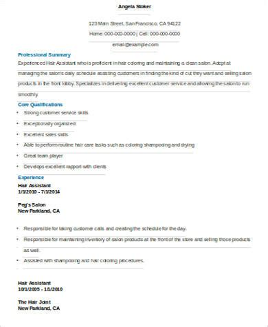 sle hair stylist resume 6 exles in word pdf