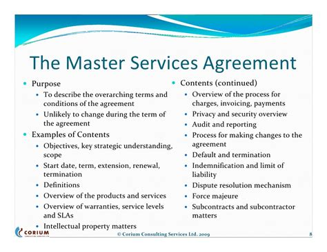 Structured Contract Guidance Letter master service agreement template hvac service agreement