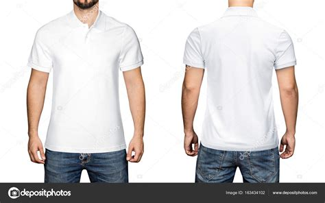 men in blank white polo shirt front and back view