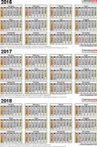 2016 To 2018 Calendar 2016 2017 2018 Calendar 4 Three Year Printable Word