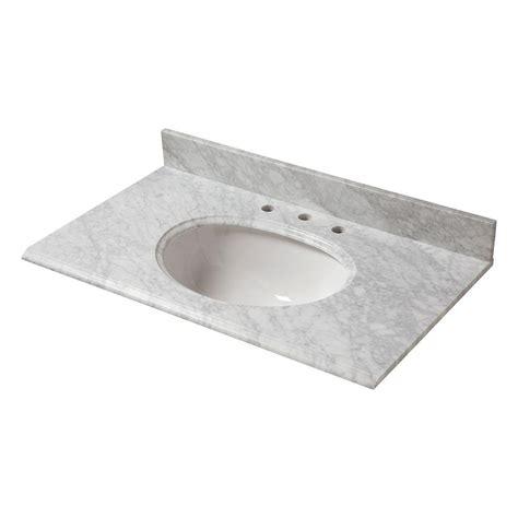 Pegasus Bathroom Vanity Tops Pegasus 37 In W Marble Vanity Top In Carrara With White Bowl And 8 In Faucet Spread 37108