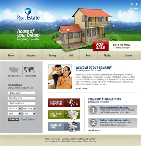 website templates for real estate agents real estate agency website template 11928