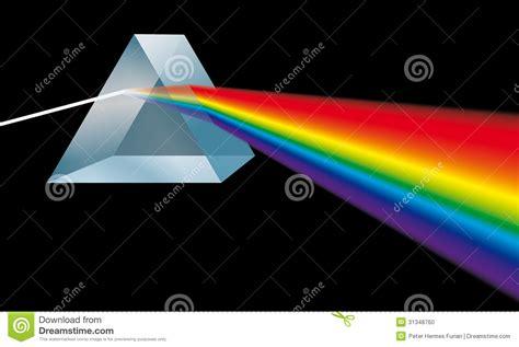 color optics triangular prism breaks light into spectral colors stock