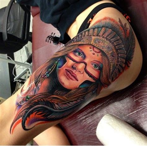 native american woman tattoo beautiful american on thigh by