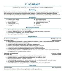 Parts Advisor Sle Resume by Customer Service Advisor Resume Sle My Resume