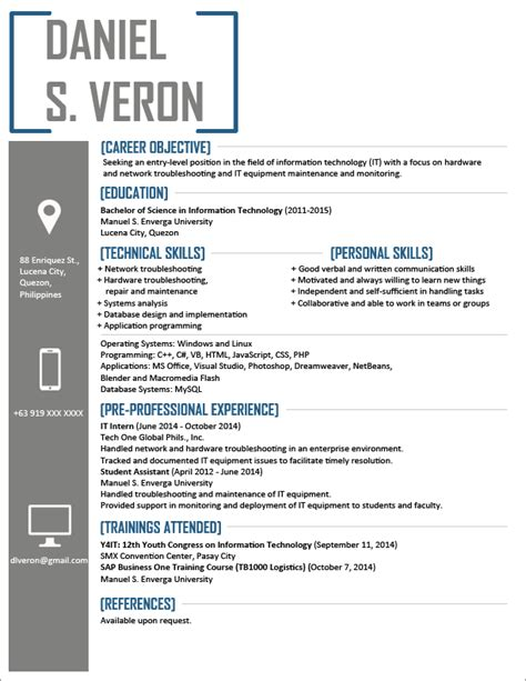 sle resume format for fresh jobstreet philippines