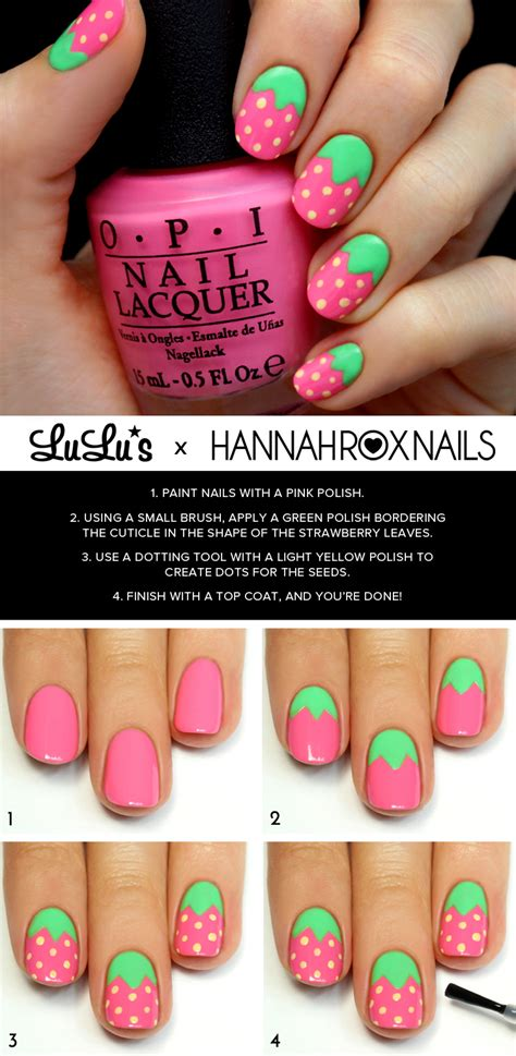 tutorial nail art strawberry mani monday pink strawberry nail tutorial lulus com