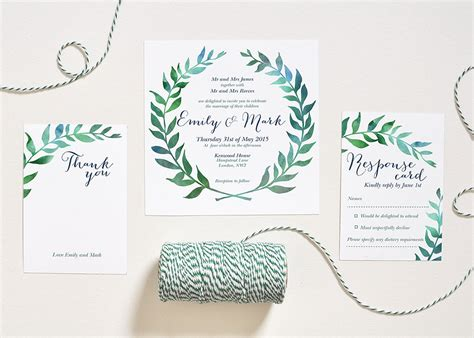 Home Decoration Items Watercolor Wedding Invitation Leaves Wreath Set Square