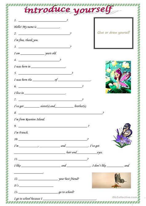 Esl Introducing Yourself Worksheet introduce yourself worksheet free esl printable