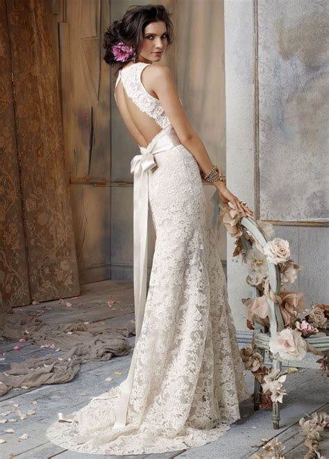 ivory wedding dress with open backcherry