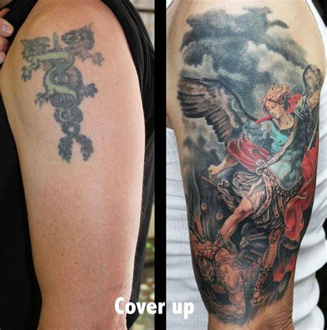 angel tattoo cover up archangel michael by david dettloff tattoonow