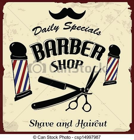 Vector of Vintage Styled Barber Shop background, vector illustration csp14997987   Search Clip
