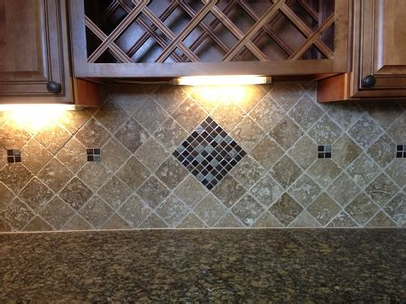tumble travertine 4x4 noce and glass mosaic backsplash wall design backsplash pinterest