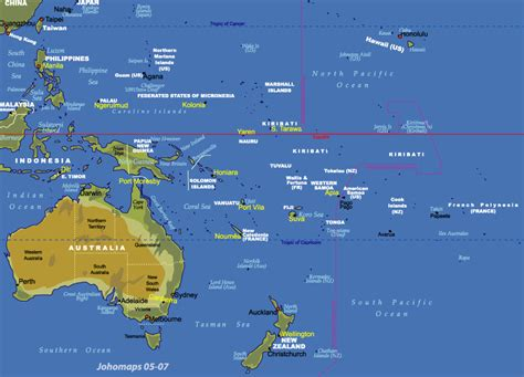 physical map of oceania map of oceania johomaps