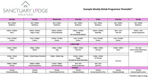 programme timetable sanctuary lodge