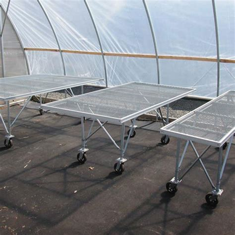 aluminum greenhouse benches 4 w x 8 l expanded metal bench on wheels farmtek