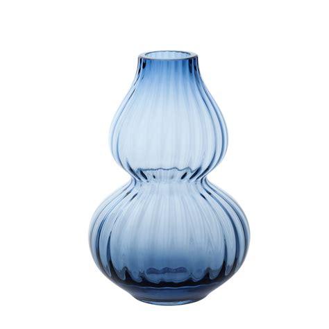 dartington small gourd ink blue optic vase