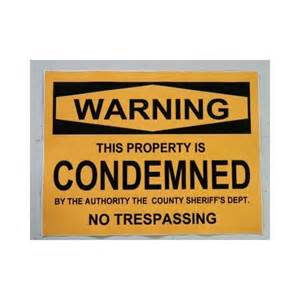 Wall Sticker Decor halloween prop sign condemned property sticker decal 9