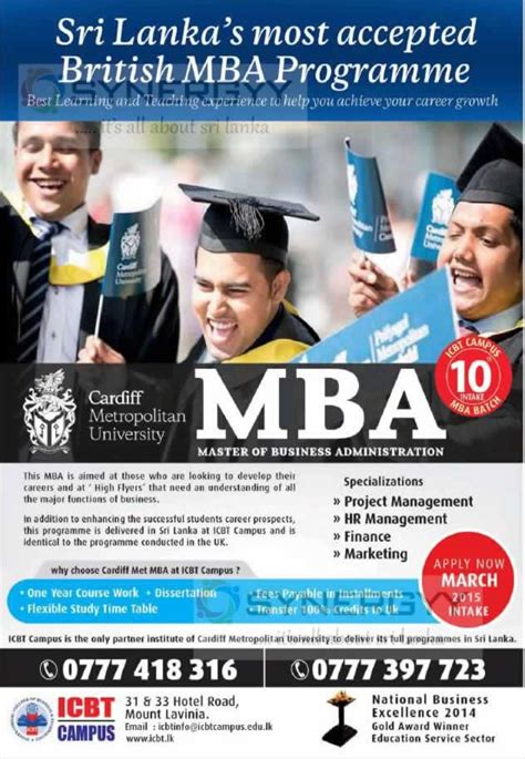 Entry Requirements For Mba In Sri Lanka by Icbt Cardiff Metropolitan Mba Programme