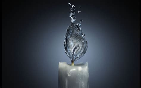 Wallpaper water, candle, flame, Fire on Water.