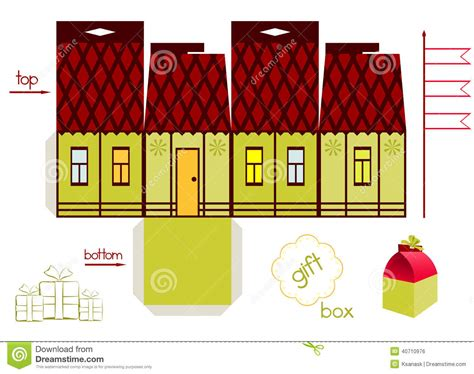 gifts for house template for tale house gift box stock vector
