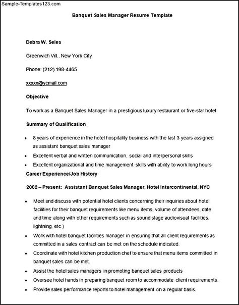 sle banquet sales manager resume template sle templates