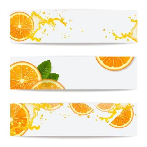 design banner juice oranges juice splashes banners vector vector banner free