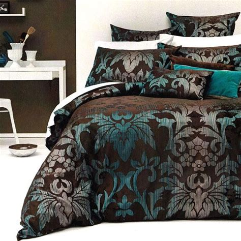 turquoise and brown bedding details about sicilly chocolate brown teal aqua jacquard king quilt