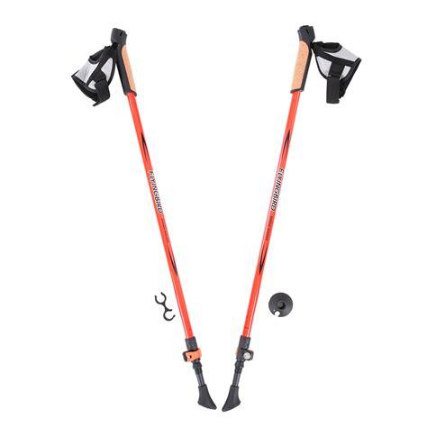Trekking Pole Anti Soce 2pcs pair carbon fiber ultralight trekking poles walking stick anti shock absorber system hiking