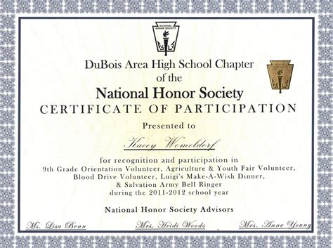 national honor society certificate template volunteer work nb