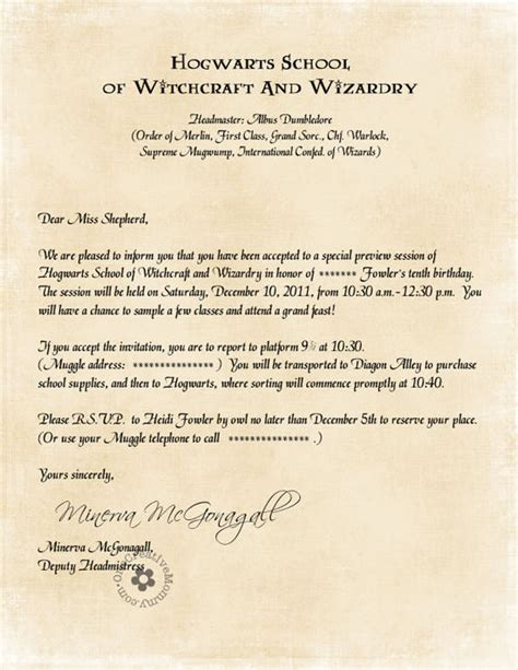 Invitation Letter Harry Potter Harry Potter Invitations By Owl Post