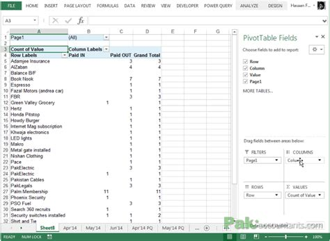 flow summary in excel using pivot tables with data on worksheets