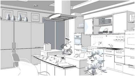 this black and white interior vision is a striking loft in sketchup texture free sketchup 3d scene kitchen area